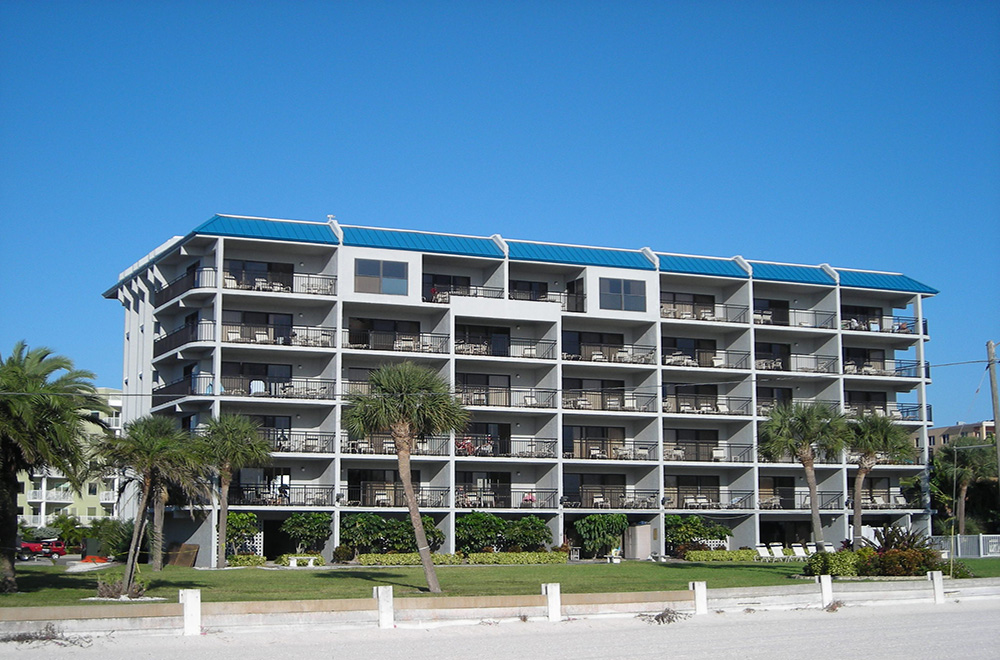 Blue Standing Seam Metal Roof On The Beach
