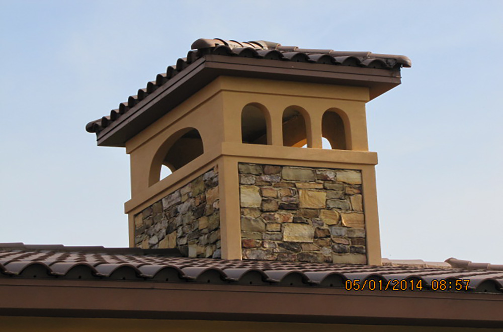 Shop Fabricated Metal Frame With Stone, Tile Roof
