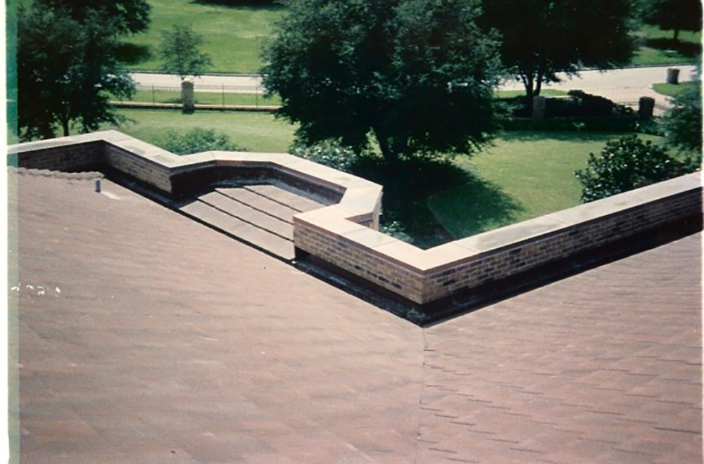 Tile Roof With Copper Coping Cap And Coper Gutter