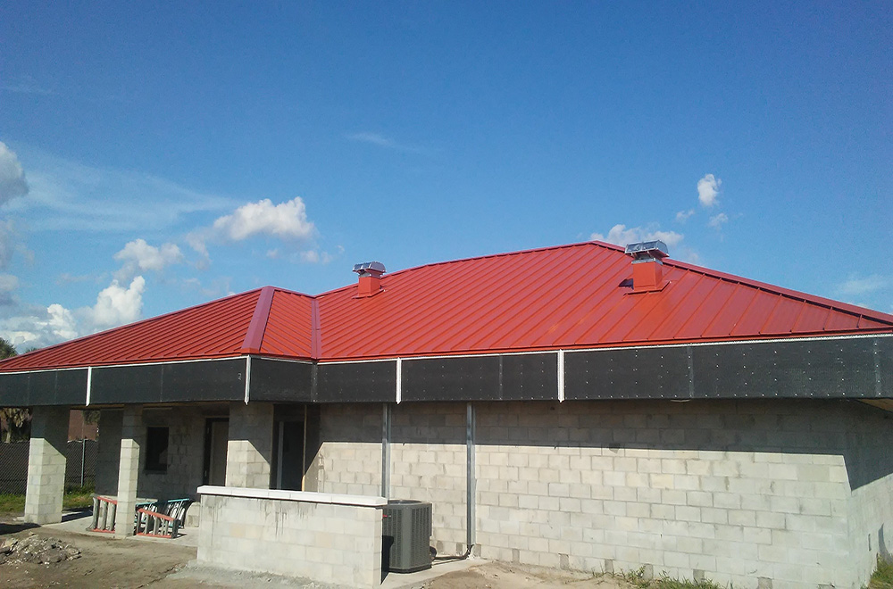 Red Standing Seam Metal Roof On MacDill AFB