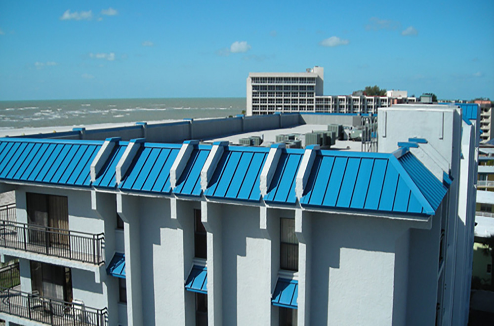 Removed Tile And Installed Blue Metal Roof On Treasure Island