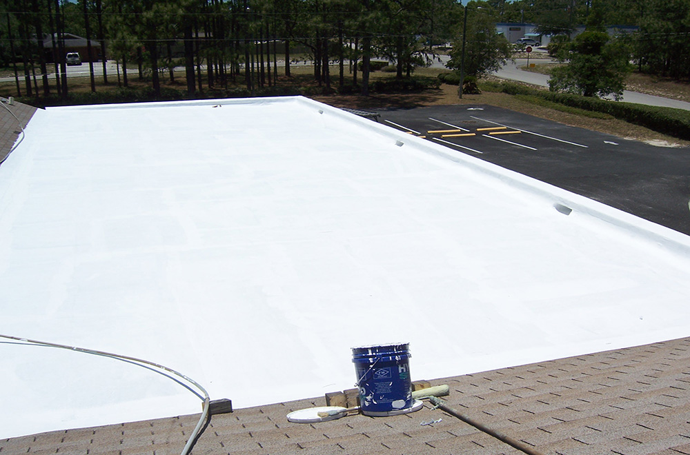 Roof Coating System On Flat Deck In Spring Hill FL