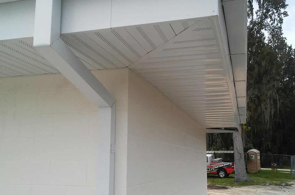 White Fascia And Soffit With Gutter And Downspouts